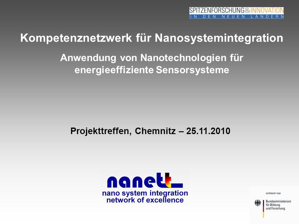 Seite 1 Michael Heinrich TU Chemnitz, SLK 25.11.2010 Kompetenznetzwerk für Nanosystemintegration Projekttreffen, Chemnitz – 25.11.2010 Anwendung von Nanotechnologien für energieeffiziente Sensorsysteme