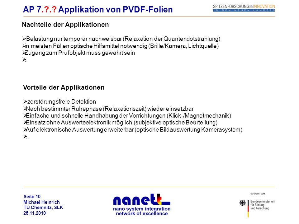 Seite 10 Michael Heinrich TU Chemnitz, SLK 25.11.2010 AP 7.?.? Applikation von PVDF-Folien Nachteile der Applikationen Belastung nur temporär nachweis
