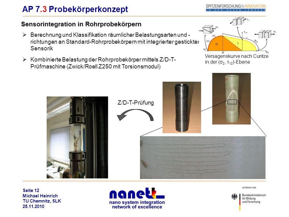 Seite 12 Michael Heinrich TU Chemnitz, SLK 25.11.2010 AP 7.3 Probekörperkonzept Sensorintegration in Rohrprobekörpern Z/D-T-Prüfung Berechnung und Kla