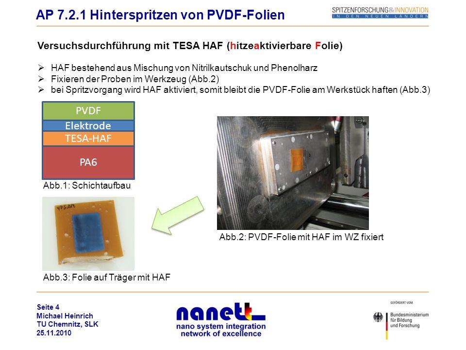 Seite 4 Michael Heinrich TU Chemnitz, SLK 25.11.2010 Versuchsdurchführung mit TESA HAF (hitzeaktivierbare Folie) HAF bestehend aus Mischung von Nitrilkautschuk und Phenolharz Fixieren der Proben im Werkzeug (Abb.2) bei Spritzvorgang wird HAF aktiviert, somit bleibt die PVDF-Folie am Werkstück haften (Abb.3) AP 7.2.1 Hinterspritzen von PVDF-Folien PVDF Elektrode TESA-HAF PA6 Abb.1: Schichtaufbau Abb.3: Folie auf Träger mit HAF Abb.2: PVDF-Folie mit HAF im WZ fixiert
