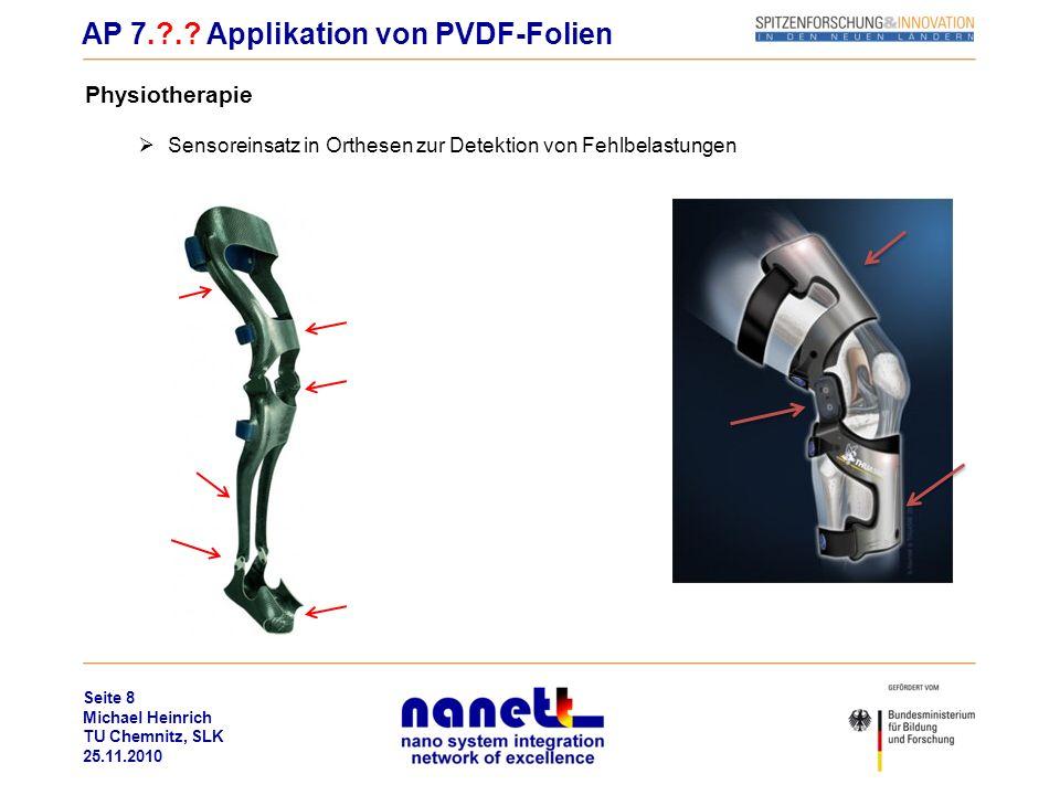 Seite 8 Michael Heinrich TU Chemnitz, SLK 25.11.2010 Physiotherapie Sensoreinsatz in Orthesen zur Detektion von Fehlbelastungen AP 7.?.? Applikation v
