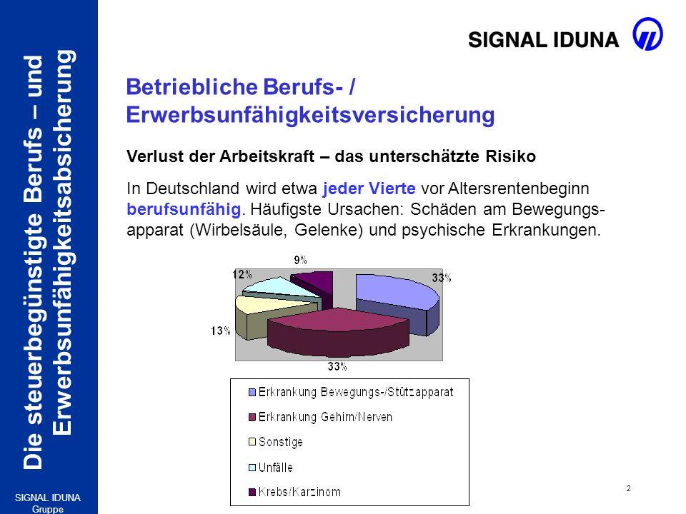 Die steuerbegünstigte Berufs – und Erwerbsunfähigkeitsabsicherung 2 SIGNAL IDUNA Gruppe Verlust der Arbeitskraft – das unterschätzte Risiko In Deutsch