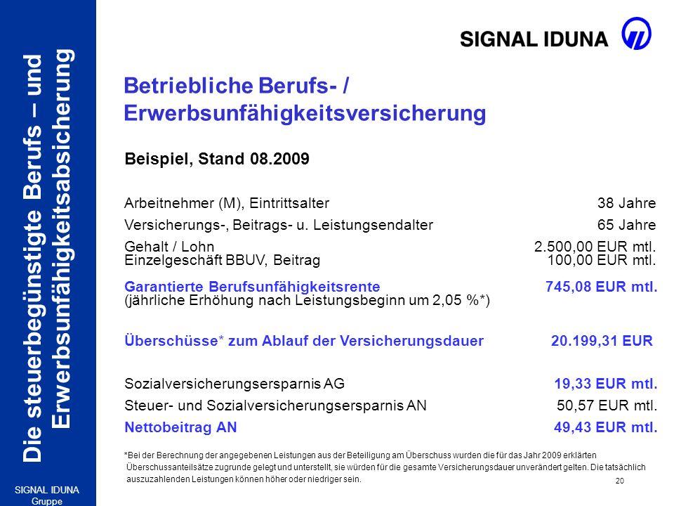 Die steuerbegünstigte Berufs – und Erwerbsunfähigkeitsabsicherung 20 SIGNAL IDUNA Gruppe Beispiel, Stand 08.2009 Arbeitnehmer (M), Eintrittsalter 38 J