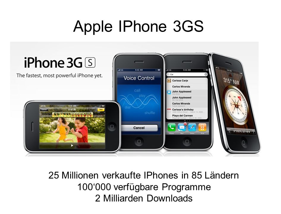 Apple IPhone 3GS 25 Millionen verkaufte IPhones in 85 Ländern 100000 verfügbare Programme 2 Milliarden Downloads