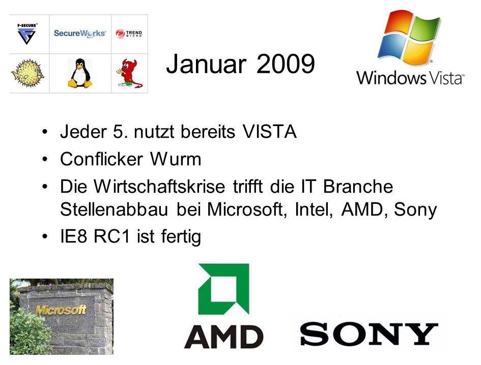 Februar 2009 Google Earth in neuer Version mit Meeresbodenansicht Microsoft kündigt Windows 7 an Die besten Tools von Microsoft Updatewahnsinn von 1.8 auf 370 MB (Nero)