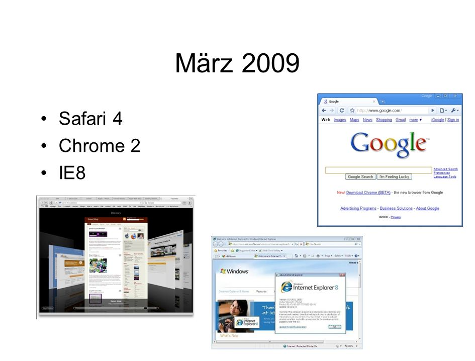 März 2009 Safari 4 Chrome 2 IE8