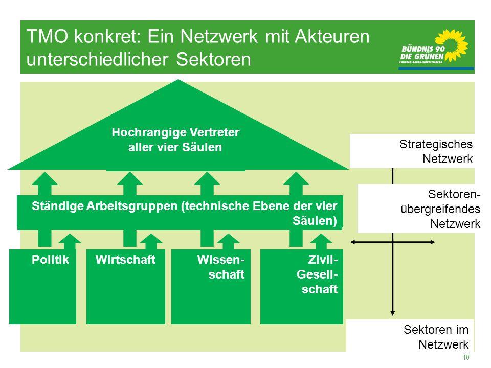 10 Strategisches Netzwerk Sektoren- übergreifendes Netzwerk Sektoren im Netzwerk Zivil- Gesell- schaft Wissen- schaft Wirtschaft Politik Ständige Arbe