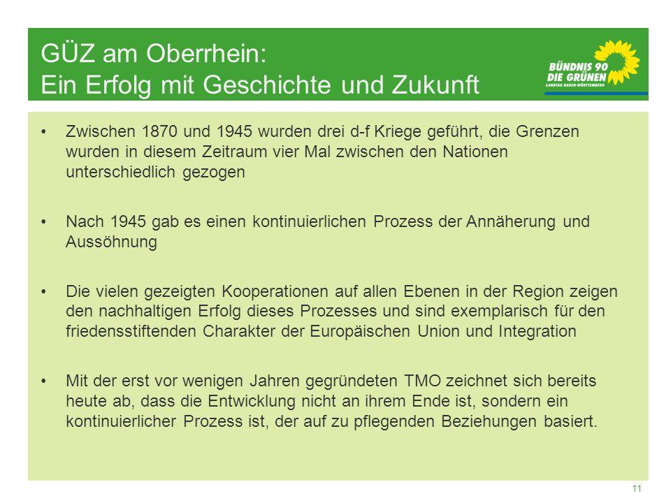 11 GÜZ am Oberrhein: Ein Erfolg mit Geschichte und Zukunft Zwischen 1870 und 1945 wurden drei d-f Kriege geführt, die Grenzen wurden in diesem Zeitrau