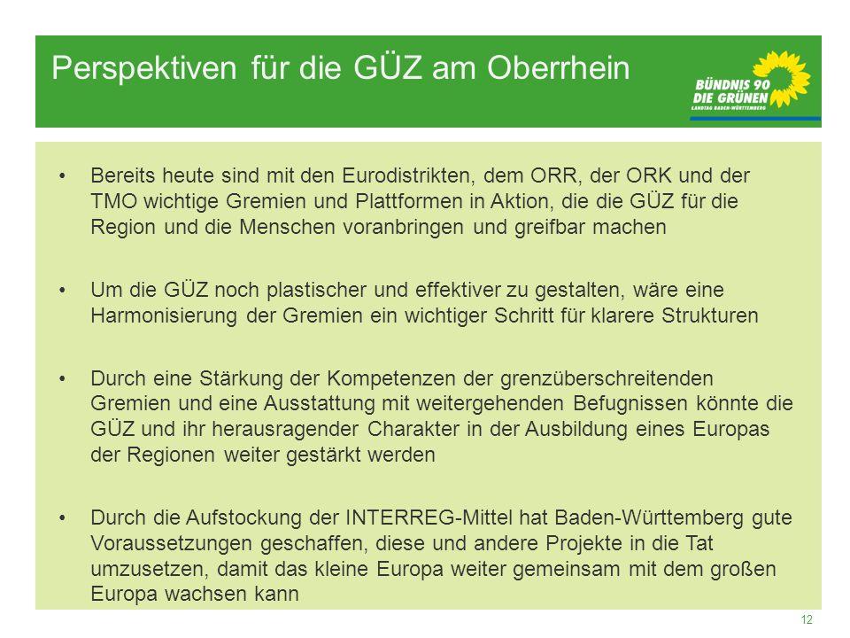 12 Perspektiven für die GÜZ am Oberrhein Bereits heute sind mit den Eurodistrikten, dem ORR, der ORK und der TMO wichtige Gremien und Plattformen in A