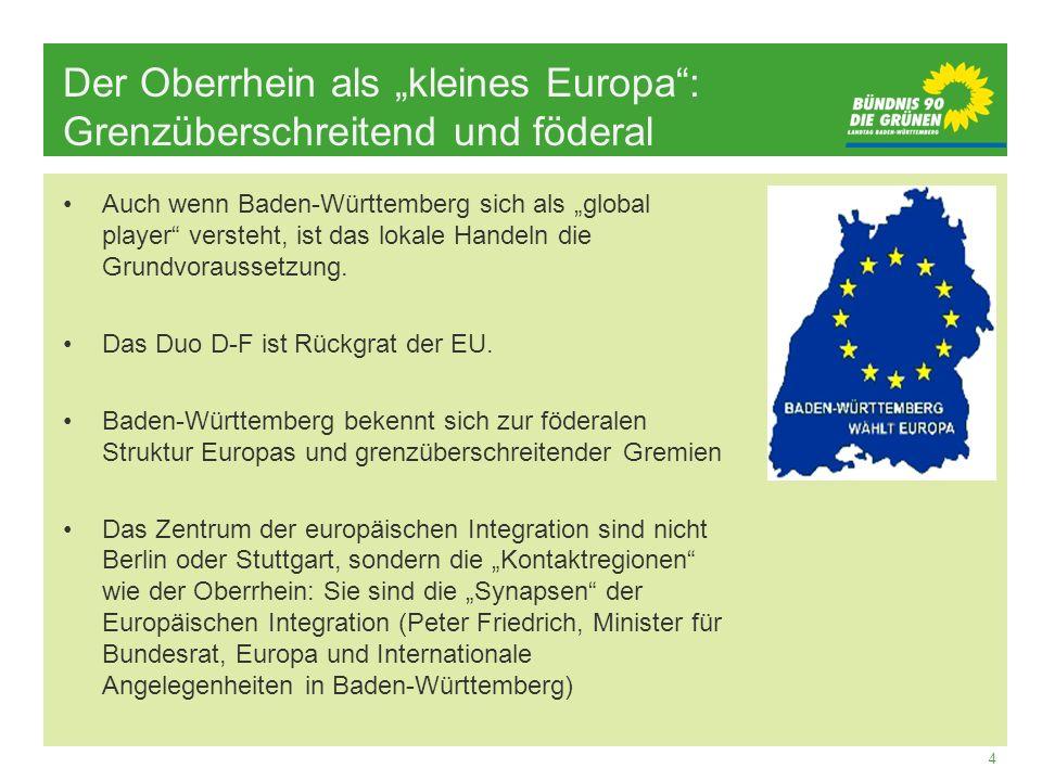 4 Der Oberrhein als kleines Europa: Grenzüberschreitend und föderal Auch wenn Baden-Württemberg sich als global player versteht, ist das lokale Handel