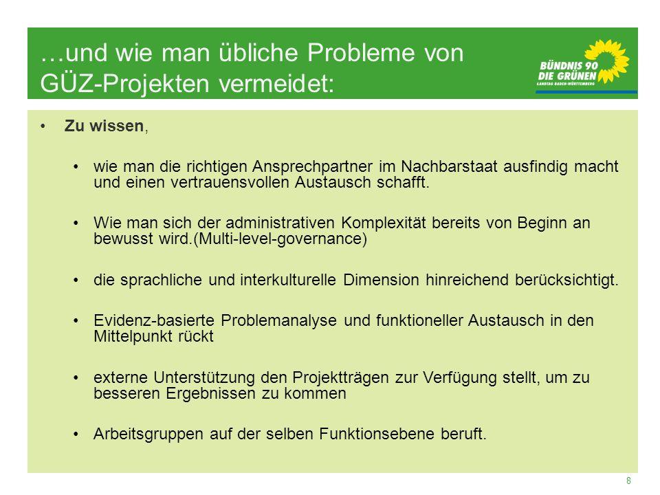 8 …und wie man übliche Probleme von GÜZ-Projekten vermeidet: Zu wissen, wie man die richtigen Ansprechpartner im Nachbarstaat ausfindig macht und eine