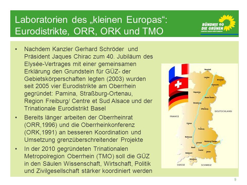 9 Laboratorien des kleinen Europas: Eurodistrikte, ORR, ORK und TMO Nachdem Kanzler Gerhard Schröder und Präsident Jaques Chirac zum 40. Jubiläum des
