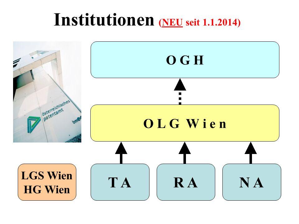 Institutionen (NEU seit 1.1.2014) O L G W i e n LGS Wien HG Wien R AN A O G H T A