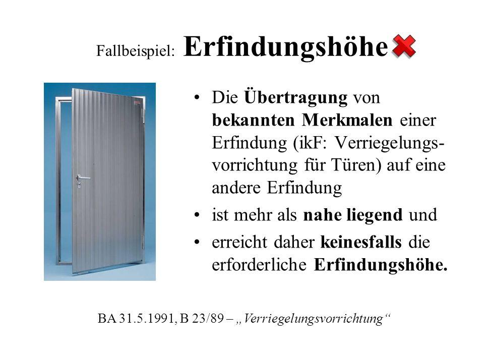 Fallbeispiel: Erfindungshöhe Die Übertragung von bekannten Merkmalen einer Erfindung (ikF: Verriegelungs- vorrichtung für Türen) auf eine andere Erfin