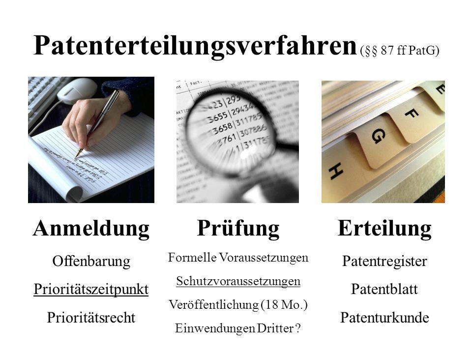 Patenterteilungsverfahren (§§ 87 ff PatG) Anmeldung Offenbarung Prioritätszeitpunkt Prioritätsrecht Prüfung Formelle Voraussetzungen Schutzvoraussetzu