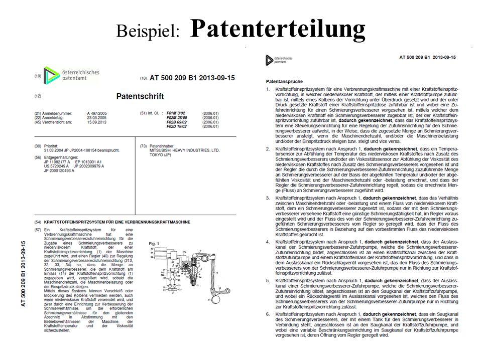 Beispiel: Patenterteilung