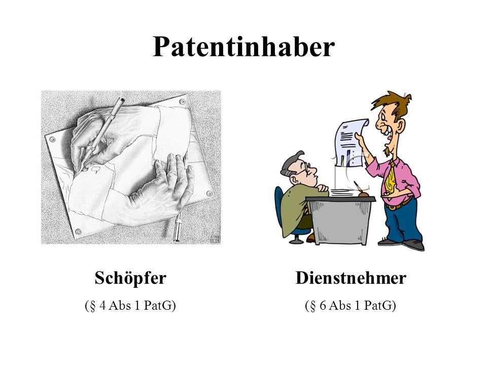 Patentinhaber Schöpfer (§ 4 Abs 1 PatG) Dienstnehmer (§ 6 Abs 1 PatG)