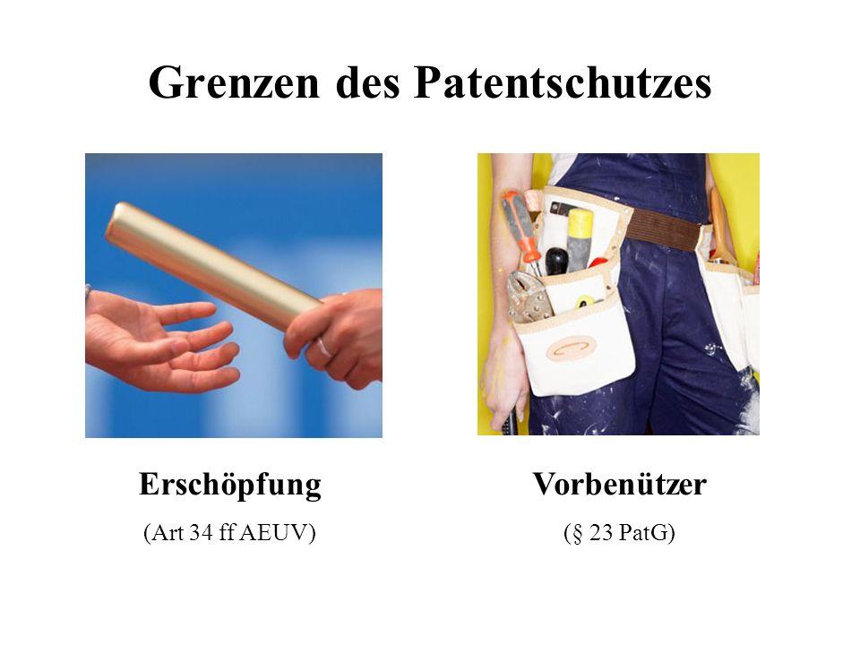 Grenzen des Patentschutzes Erschöpfung (Art 34 ff AEUV) Vorbenützer (§ 23 PatG)