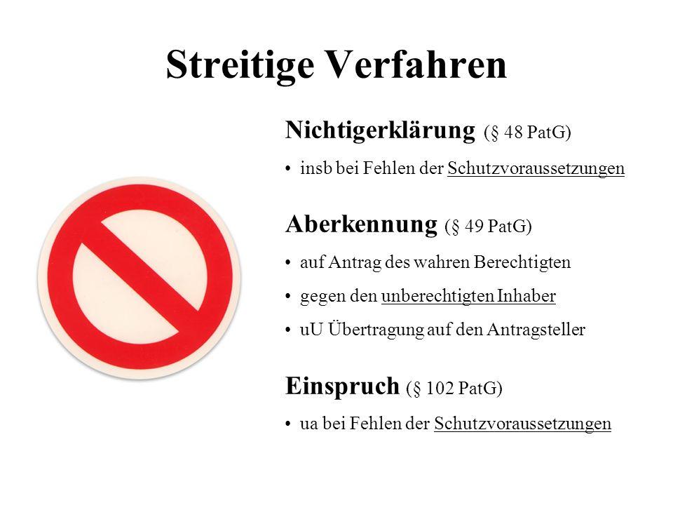 Streitige Verfahren Nichtigerklärung (§ 48 PatG) insb bei Fehlen der Schutzvoraussetzungen Aberkennung (§ 49 PatG) auf Antrag des wahren Berechtigten