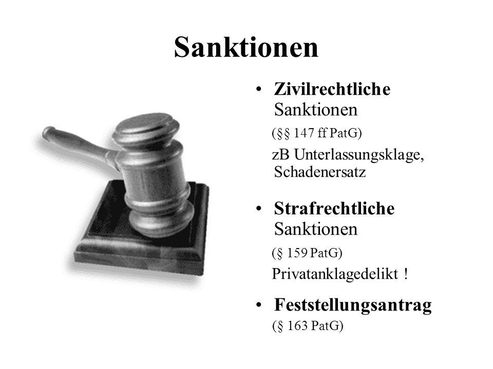 Sanktionen Zivilrechtliche Sanktionen (§§ 147 ff PatG) zB Unterlassungsklage, Schadenersatz Strafrechtliche Sanktionen (§ 159 PatG) Privatanklagedelik