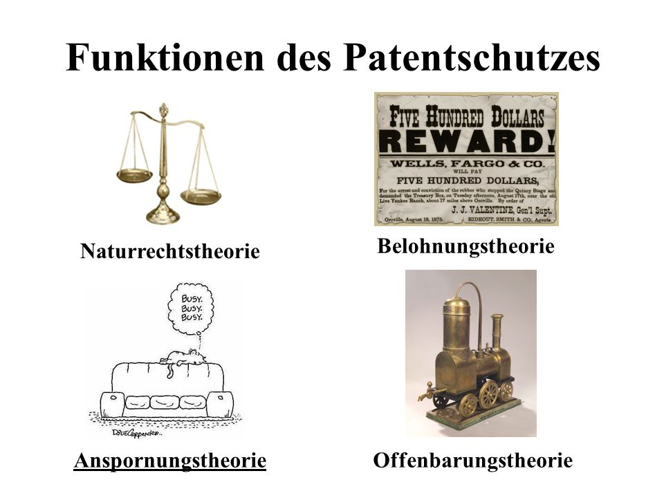 Funktionen des Patentschutzes Naturrechtstheorie Belohnungstheorie AnspornungstheorieOffenbarungstheorie
