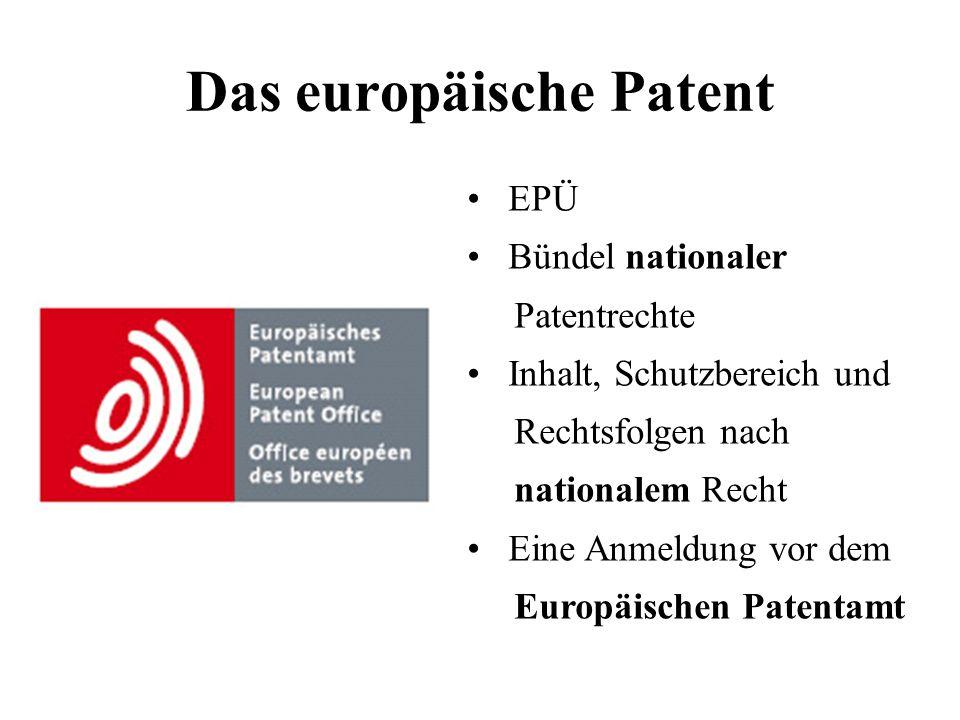 Das europäische Patent EPÜ Bündel nationaler Patentrechte Inhalt, Schutzbereich und Rechtsfolgen nach nationalem Recht Eine Anmeldung vor dem Europäis