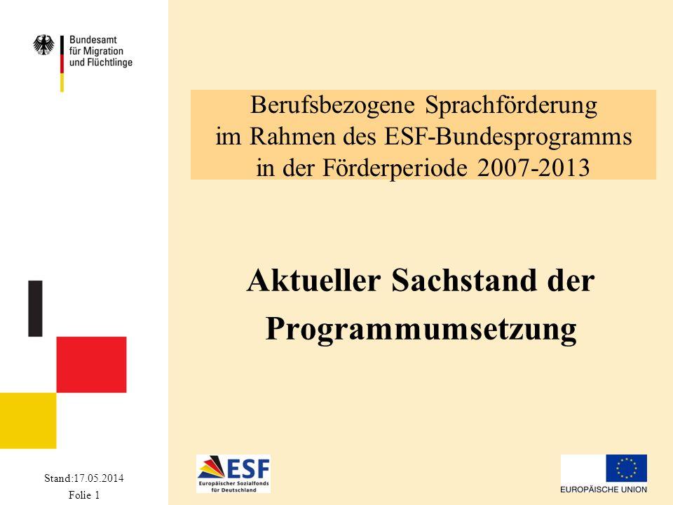 Stand: 17.05.2014 Folie 2 Entwicklung des ESF-BAMF-Programms 09.07.2008Abschluss der Verwaltungsvereinbarung zwischen BA und Bundesamt 27.07.2008Inkrafttreten der ESF-BAMF-Förderrichtlinie Start der Wettbewerbsverfahren 1.