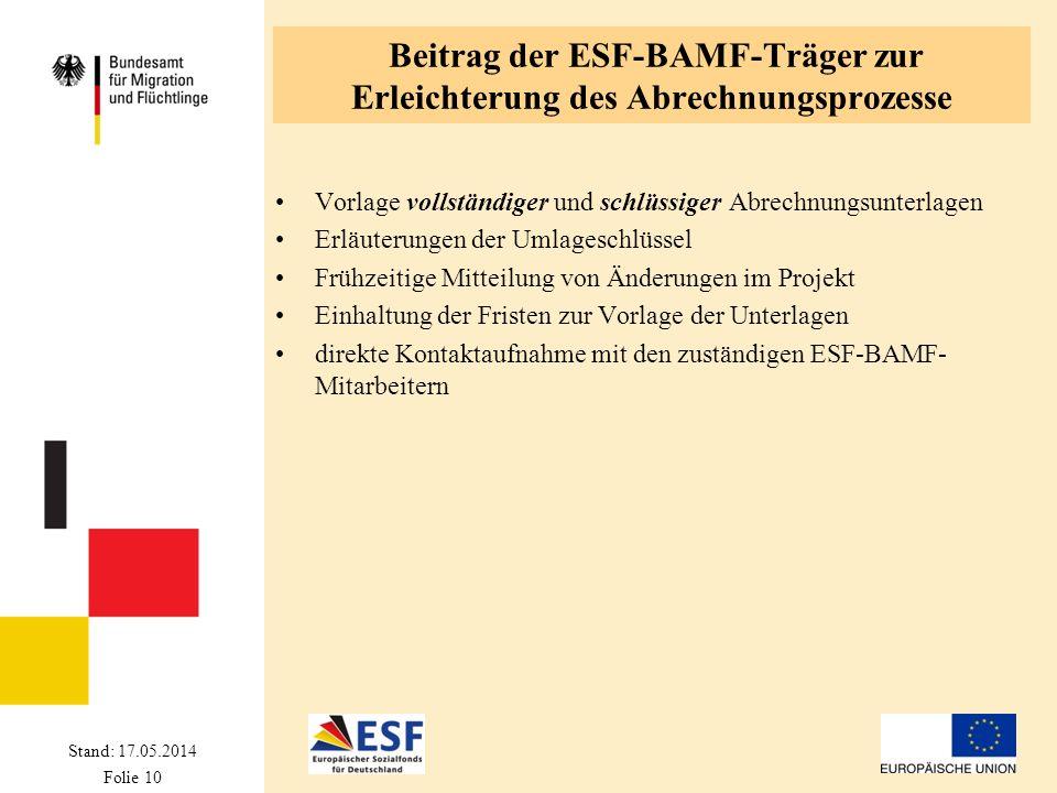 Stand: 17.05.2014 Folie 10 Beitrag der ESF-BAMF-Träger zur Erleichterung des Abrechnungsprozesse Vorlage vollständiger und schlüssiger Abrechnungsunte