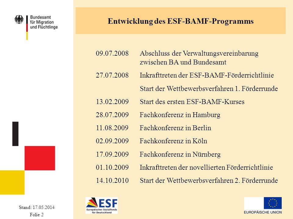Stand: 17.05.2014 Folie 2 Entwicklung des ESF-BAMF-Programms 09.07.2008Abschluss der Verwaltungsvereinbarung zwischen BA und Bundesamt 27.07.2008Inkra