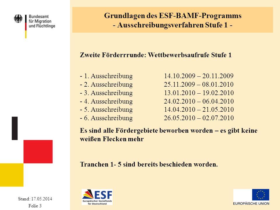 Stand: 17.05.2014 Folie 3 Grundlagen des ESF-BAMF-Programms - Ausschreibungsverfahren Stufe 1 - Zweite Förderrrunde: Wettbewerbsaufrufe Stufe 1 - 1. A