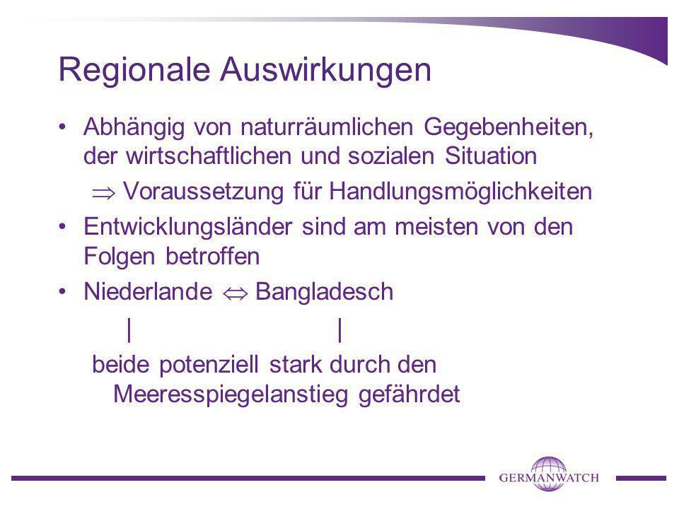 Regionale Auswirkungen Abhängig von naturräumlichen Gegebenheiten, der wirtschaftlichen und sozialen Situation Voraussetzung für Handlungsmöglichkeite