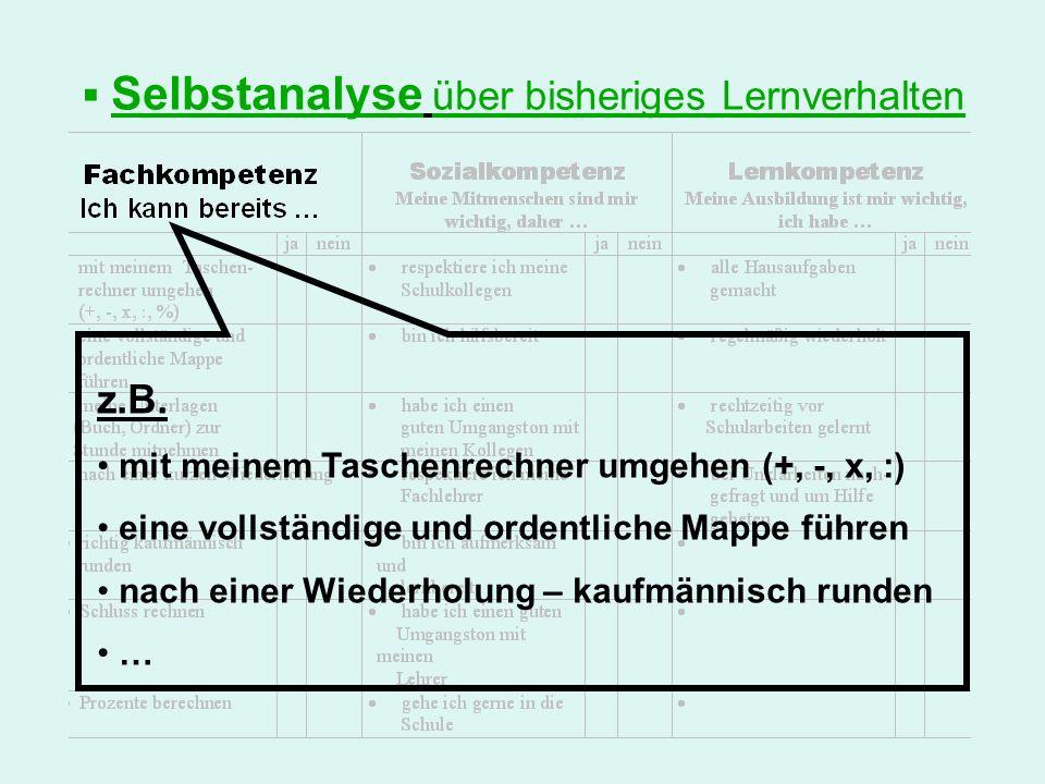 Selbstanalyse über bisheriges Lernverhalten z.B. mit meinem Taschenrechner umgehen (+, -, x, :) eine vollständige und ordentliche Mappe führen nach ei