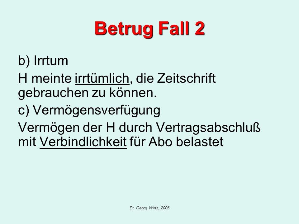 Dr. Georg Wirtz, 2006 Betrug Fall 2 b) Irrtum H meinte irrtümlich, die Zeitschrift gebrauchen zu können. c) Vermögensverfügung Vermögen der H durch Ve