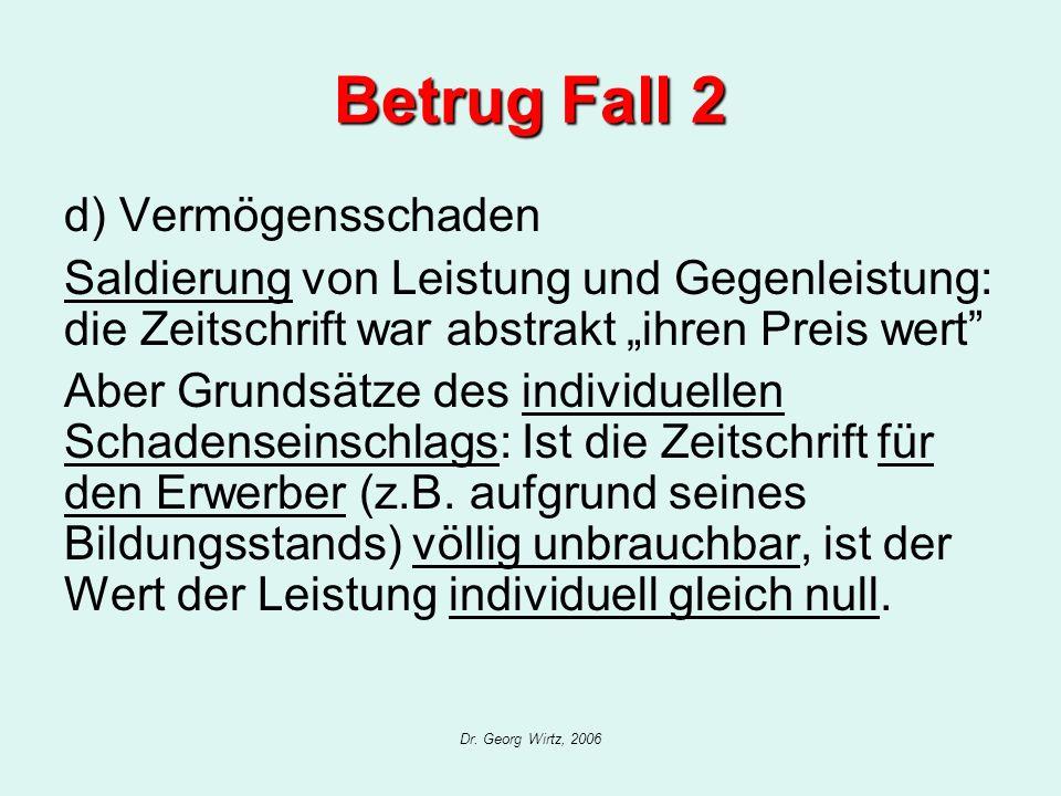 Dr. Georg Wirtz, 2006 Betrug Fall 2 d) Vermögensschaden Saldierung von Leistung und Gegenleistung: die Zeitschrift war abstrakt ihren Preis wert Aber