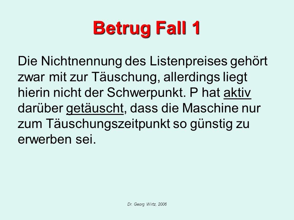 Dr. Georg Wirtz, 2006 Betrug Fall 1 Die Nichtnennung des Listenpreises gehört zwar mit zur Täuschung, allerdings liegt hierin nicht der Schwerpunkt. P