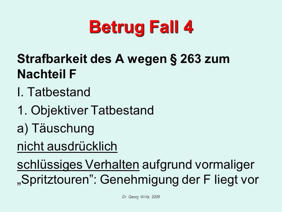 Dr. Georg Wirtz, 2006 Betrug Fall 4 Strafbarkeit des A wegen § 263 zum Nachteil F I. Tatbestand 1. Objektiver Tatbestand a) Täuschung nicht ausdrückli
