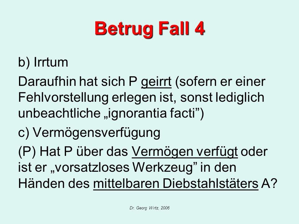 Dr. Georg Wirtz, 2006 Betrug Fall 4 b) Irrtum Daraufhin hat sich P geirrt (sofern er einer Fehlvorstellung erlegen ist, sonst lediglich unbeachtliche