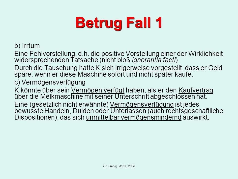 Dr. Georg Wirtz, 2006 Betrug Fall 1 b) Irrtum Eine Fehlvorstellung, d.h. die positive Vorstellung einer der Wirklichkeit widersprechenden Tatsache (ni
