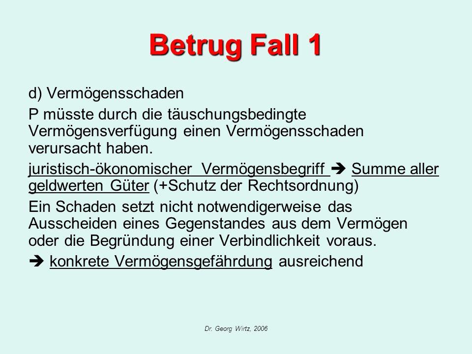 Dr. Georg Wirtz, 2006 Betrug Fall 1 d) Vermögensschaden P müsste durch die täuschungsbedingte Vermögensverfügung einen Vermögensschaden verursacht hab