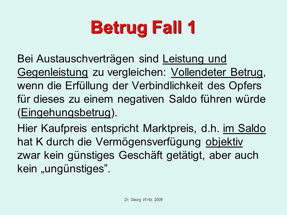 Dr. Georg Wirtz, 2006 Betrug Fall 1 Bei Austauschverträgen sind Leistung und Gegenleistung zu vergleichen: Vollendeter Betrug, wenn die Erfüllung der