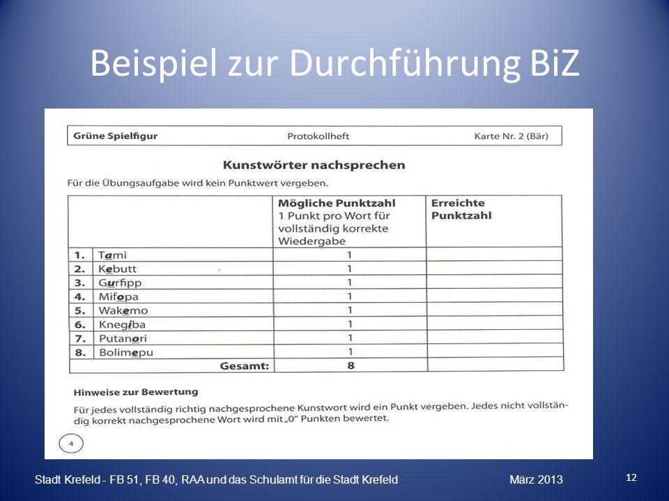 Beispiel zur Durchführung BiZ Stadt Krefeld - FB 51, FB 40, RAA und das Schulamt für die Stadt Krefeld März 2013 12