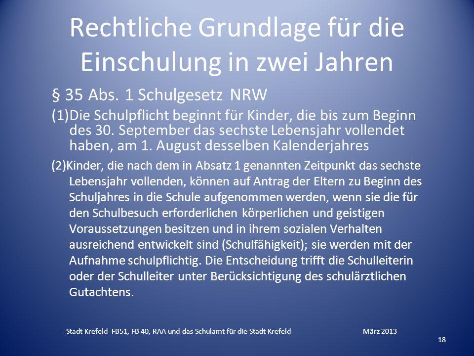 Rechtliche Grundlage für die Einschulung in zwei Jahren § 35 Abs. 1 Schulgesetz NRW (1)Die Schulpflicht beginnt für Kinder, die bis zum Beginn des 30.