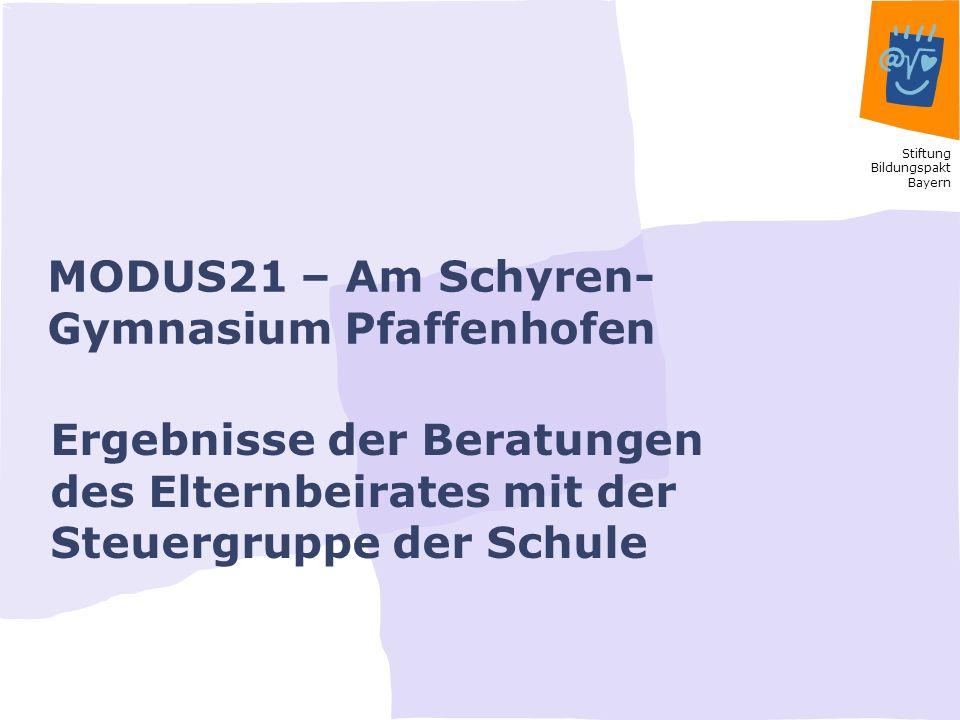 Stiftung Bildungspakt Bayern MODUS21 – Am Schyren- Gymnasium Pfaffenhofen Ergebnisse der Beratungen des Elternbeirates mit der Steuergruppe der Schule