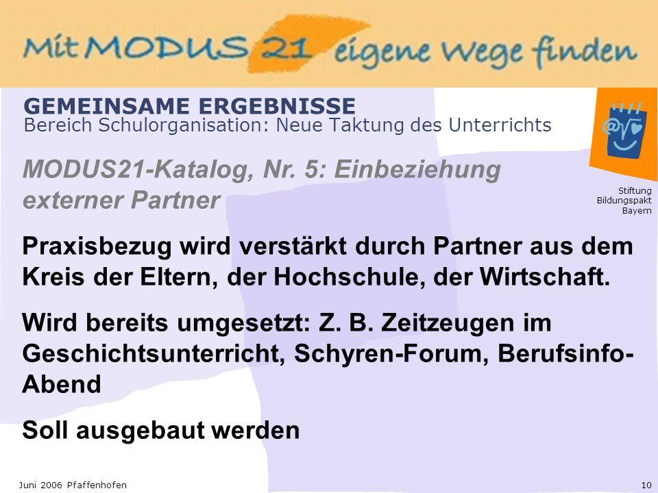Stiftung Bildungspakt Bayern 10Juni 2006 Pfaffenhofen GEMEINSAME ERGEBNISSE Bereich Schulorganisation: Neue Taktung des Unterrichts MODUS21-Katalog, Nr.