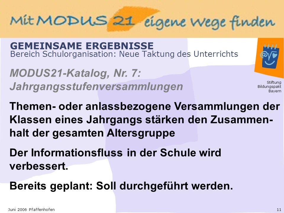 Stiftung Bildungspakt Bayern 11Juni 2006 Pfaffenhofen GEMEINSAME ERGEBNISSE Bereich Schulorganisation: Neue Taktung des Unterrichts MODUS21-Katalog, Nr.