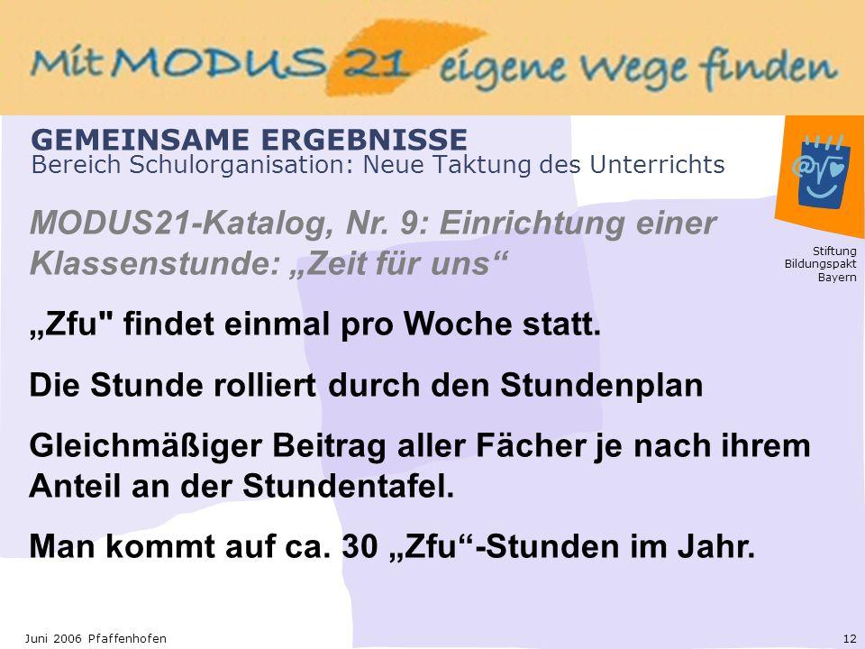Stiftung Bildungspakt Bayern 12Juni 2006 Pfaffenhofen GEMEINSAME ERGEBNISSE Bereich Schulorganisation: Neue Taktung des Unterrichts MODUS21-Katalog, Nr.