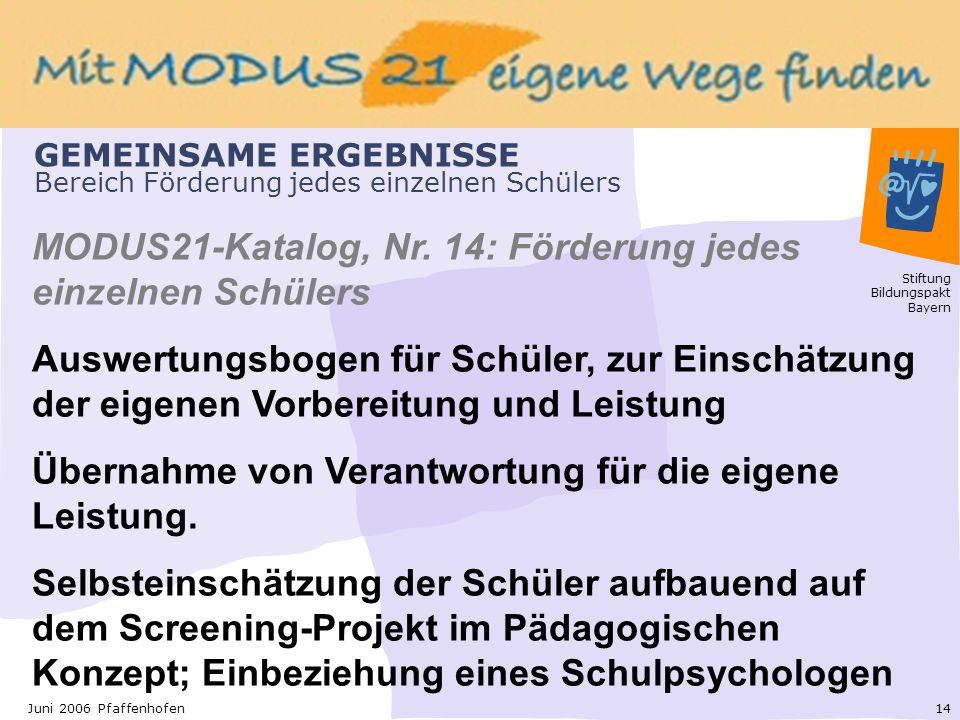 Stiftung Bildungspakt Bayern 14Juni 2006 Pfaffenhofen GEMEINSAME ERGEBNISSE Bereich Förderung jedes einzelnen Schülers MODUS21-Katalog, Nr.