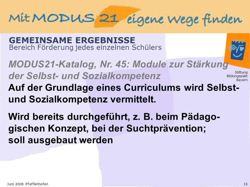Stiftung Bildungspakt Bayern 15Juni 2006 Pfaffenhofen GEMEINSAME ERGEBNISSE Bereich Förderung jedes einzelnen Schülers MODUS21-Katalog, Nr.