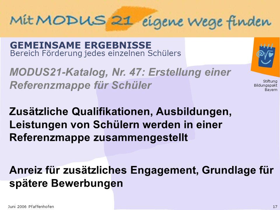 Stiftung Bildungspakt Bayern 17Juni 2006 Pfaffenhofen GEMEINSAME ERGEBNISSE Bereich Förderung jedes einzelnen Schülers MODUS21-Katalog, Nr.