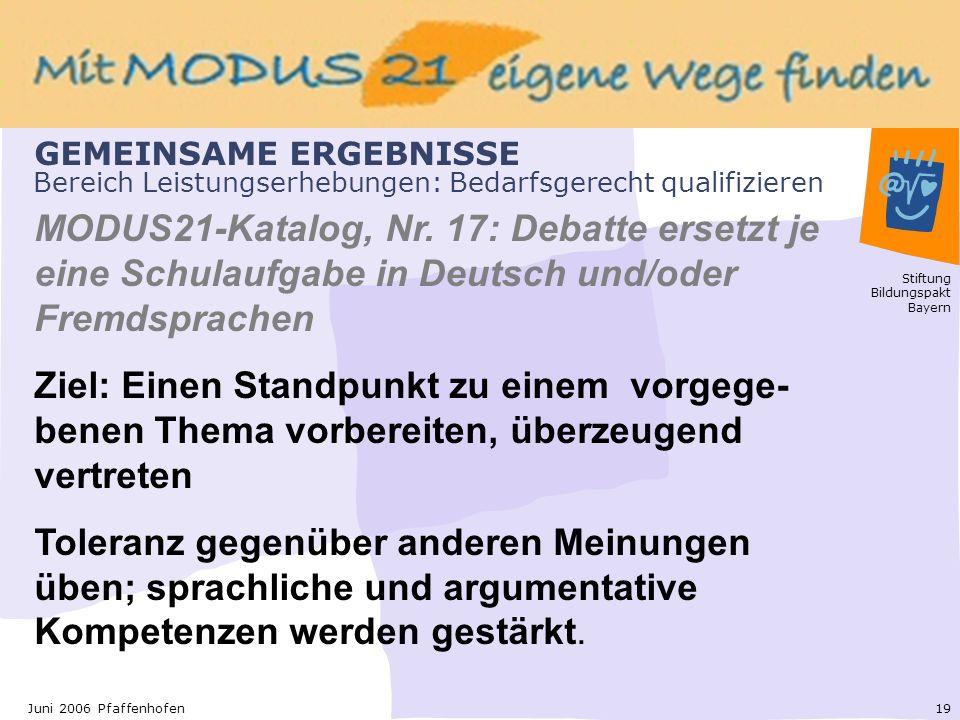 Stiftung Bildungspakt Bayern 19Juni 2006 Pfaffenhofen Bereich Leistungserhebungen: Bedarfsgerecht qualifizieren MODUS21-Katalog, Nr.